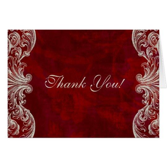 Gracias cardar el boda rojo formal de la rosaleda tarjeta de felicitación