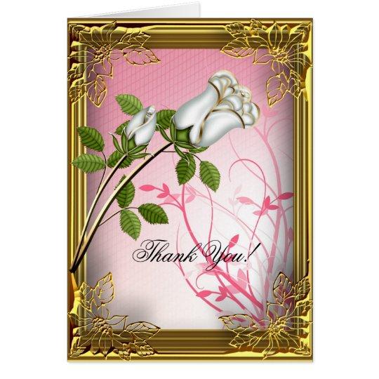 Gracias cardar el oro rosado del rosa blanco de la tarjeta pequeña