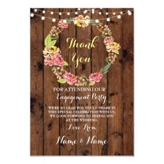 Gracias cardar la madera floral del boda del invitación 8,9 x 12,7 cm