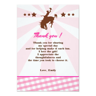 Gracias cardar rosa de la vaquera del rodeo del invitación 12,7 x 17,8 cm