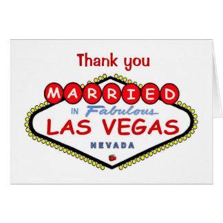 """""""Gracias"""" casado en la tarjeta de Las Vegas"""