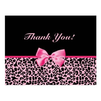 Gracias cinta rosada y negra de moda del leopardo postal