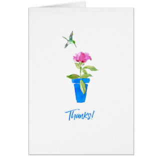 Gracias color de rosa y del colibrí tarjeta pequeña