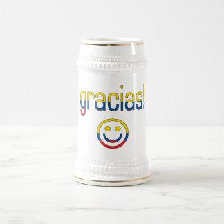 ¡Gracias! Colores de la bandera de Ecuador Jarra De Cerveza