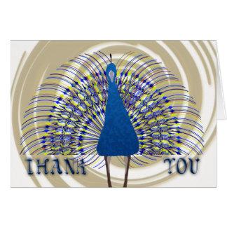 Gracias con el pavo real del vector tarjeta de felicitación