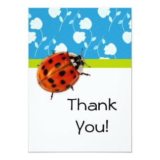 Gracias con la mariquita de moda en floral azul invitación 12,7 x 17,8 cm