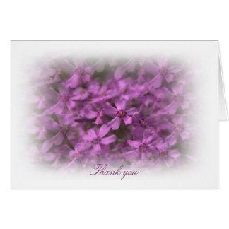 Gracias con las flores rosadas artsy tarjeta de felicitación