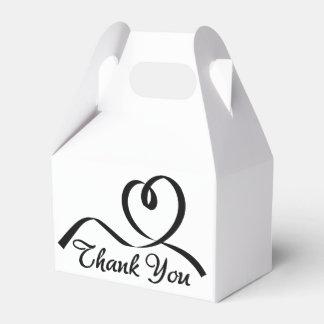 Gracias corazón blanco y negro del amor del boda caja de regalos