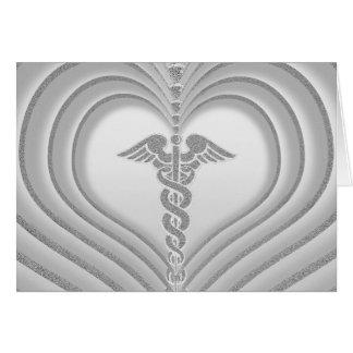 Gracias corazón médico del símbolo tarjeta de felicitación