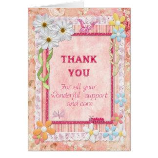 Gracias cuidador, tarjeta del arte de las flores
