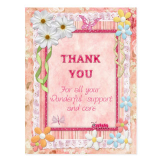 Gracias cuidador, tarjeta del arte de las flores postal