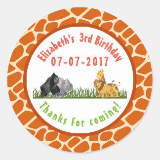 Gracias del cumpleaños de la selva del safari del pegatina redonda