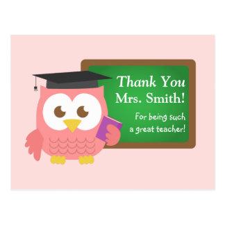 Gracias, día del aprecio del profesor, búho rosado postal
