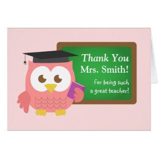 Gracias, día del aprecio del profesor, búho rosado tarjeta de felicitación
