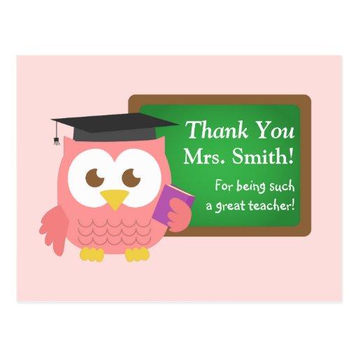 Gracias, día del aprecio del profesor, búho rosado postales