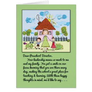 Gracias Director-Sonrisa preescolar en nuestras Tarjeta De Felicitación