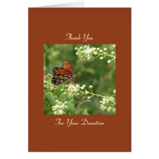 Gracias donación conmemorativa, nota anaranjada de tarjeta pequeña