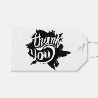 Gracias el boda negro y blanco de la pintura de etiquetas para regalos