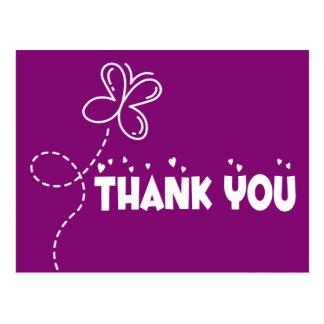 Gracias el boda púrpura y blanco de la mariposa postal