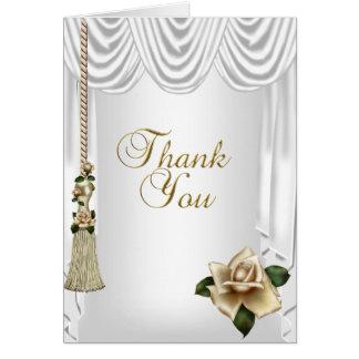 Gracias el oro poner crema blanco del boda tarjeta pequeña