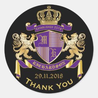 Gracias emblema de la púrpura del oro del escudo pegatina redonda