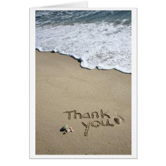 Gracias en la arena tarjeta de felicitación