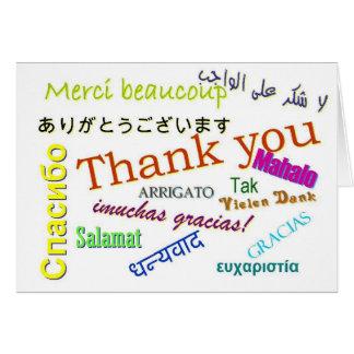 Gracias en tarjeta de muchos otros idiomas