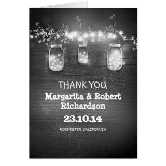 Gracias enciende invitaciones de boda rústicas de tarjeta pequeña