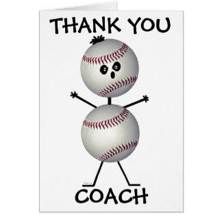 Gracias entrenador de béisbol tarjeta de felicitación