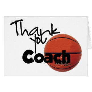 Gracias entrenar, baloncesto tarjeta de felicitación