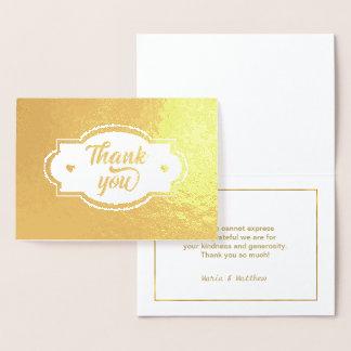 Gracias etiqueta de los corazones y el oro ID426 Tarjeta Con Relieve Metalizado