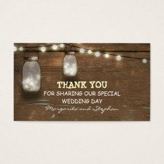 gracias etiqueta del boda con el tarro de albañil