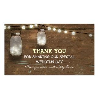 gracias etiqueta del boda con el tarro de albañil tarjetas de visita
