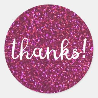 ¡Gracias! Falso pegatina rosado del brillo