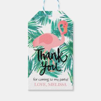 gracias flamenco tropical de las hojas de la etiquetas para regalos