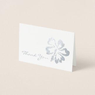Gracias flor tropical metálica del hibisco de la tarjeta con relieve metalizado