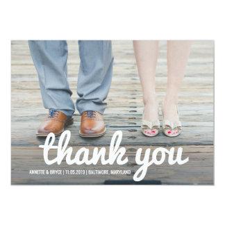 Gracias foto blanca intrépida del boda de la invitación 12,7 x 17,8 cm