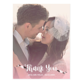 Gracias foto del boda de la flor de cerezo postal