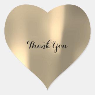 Gracias gris más astuto nacarado de Ombre del oro Pegatina En Forma De Corazón