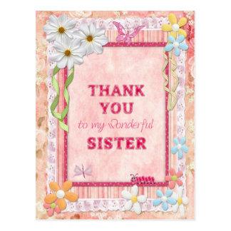 Gracias hermana, tarjeta del arte de las flores postal