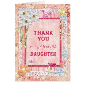 Gracias hija, tarjeta del arte de las flores