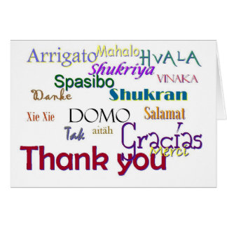 Gracias, Hvala, Gracias, Vielen húmedo, Spasibo Tarjeta De Felicitación