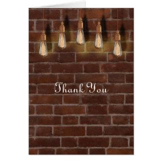 Gracias industriales de la moda de las bombillas tarjeta pequeña