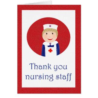 Gracias la enfermera, enfermera en el delantal tarjeta de felicitación