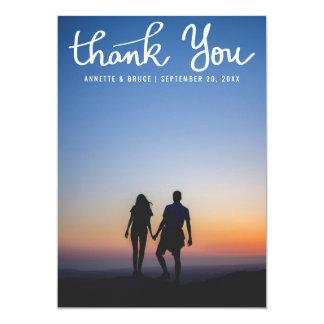 Gracias la foto blanca del boda de la escritura de invitación 12,7 x 17,8 cm