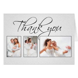 gracias la invitación de boda blanca de las fotos tarjeta de felicitación