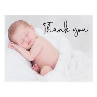 Postal Gracias la invitación del nacimiento y del bebé,
