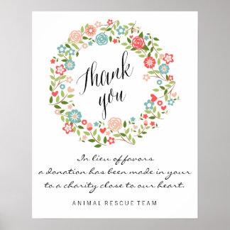 Gracias la muestra el | el | floral del boda póster
