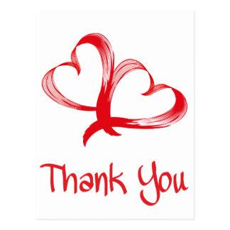 Gracias la postal doble roja y blanca del corazón