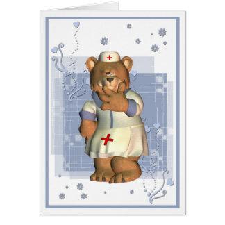 Gracias la tarjeta de la enfermera con el oso
